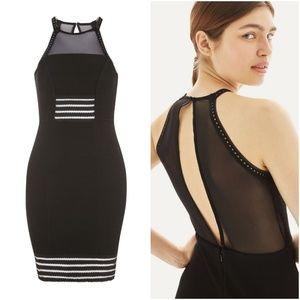 Topshop Mesh Insert Textured Bodycon Dress